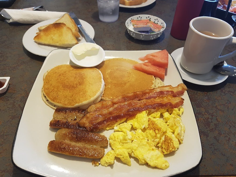 Full breakfast with pancakes from teh Prairie Cafe in Surrey BC