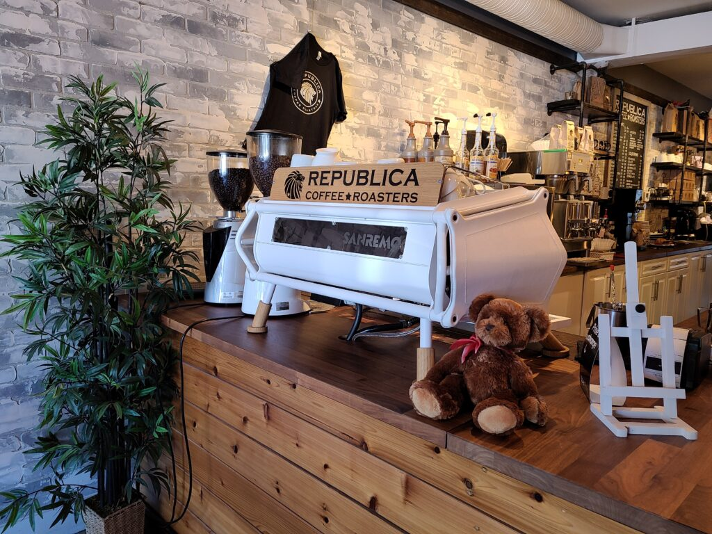 The Coffee bar at republica coffee roasters in Surrey BC